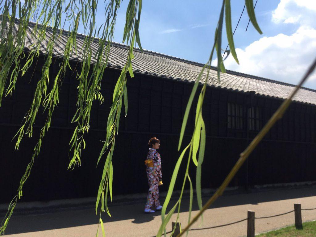 半田運河沿いの蔵の前を着物で歩く女性