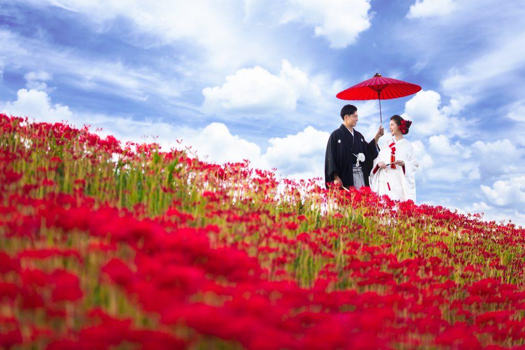 愛知県半田市カネマタ衣裳店彼岸花の結婚式