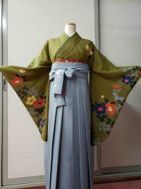 卒業袴 レトロ抹茶色着物