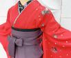卒業式袴レース半衿刺繍入り重ね衿 濃いピンクシンプル着物小豆色グラデーション袴