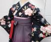 卒業袴レース半衿刺繍入り重ね衿黒地桜柄着物小豆色袴グラデーション