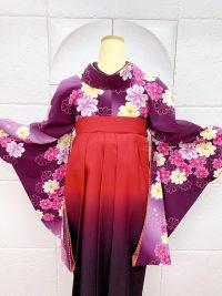 紫色着物濃いピンク紫グラデーション袴ハロウィンコーデ