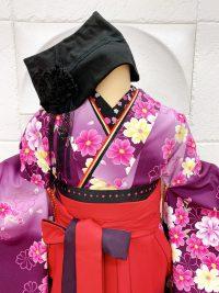 紫色着物濃いピンク紫グラデーション袴帽子に合わせてハロウィンコーデ