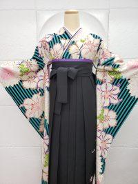 卒業袴黒青緑ストライプ柄着物振袖 黒袴