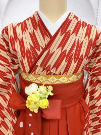 赤矢絣(やがすり)着物赤袴エンジ袴レトロ可愛い