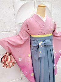 卒業袴ピンクグラデーション着物ブルーグレー袴 大人キュート系スッキリピンク着物可愛すぎないピンクでコーデ