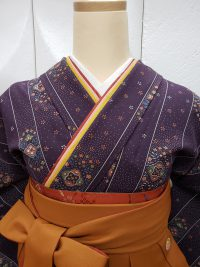 卒業袴渋紫着物橙色袴 渋可愛いコーデレトロ古風