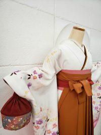 卒業袴白着物橙色袴 渋可愛い明るめ大人っぽい