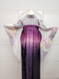 卒業袴グレー着物紫グラデーション桜地模様桜刺繍 大人っぽくしっとり系