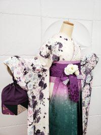 卒業袴白着物振袖紫緑グラデーション桜地模様桜刺繍袴 綺麗め大人可愛い