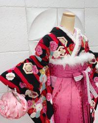 卒業袴黒着物ローズグラデーション桜地模様桜刺繍袴 華やかキュート豪華ドレッシー