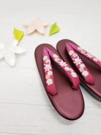卒業式 草履レンタル カジュアル草履 歩きやすい草履 赤紫色桜柄